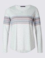 M&S Collection PLUS Fairisle Print Long Sleeve T-Shirt
