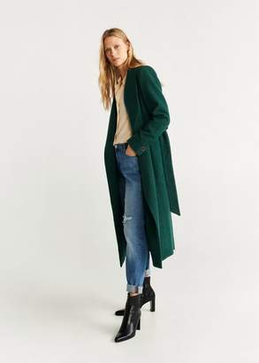 MANGO Structured wool coat green - L - Women