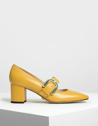 Charles & Keith Leather Stitch Detail Buckle Mary Jane Heels