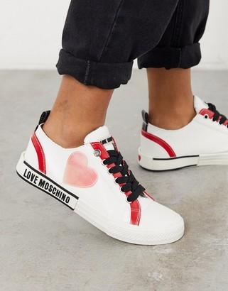 Love Moschino heart logo trainers in white