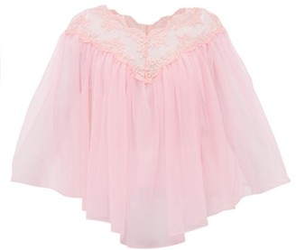 Christopher Kane Lace-trimmed Tulle Cape Top - Light Pink