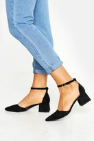 boohoo Pointed Toe Low Block Heel Ballets