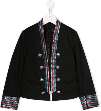 Balmain Kids embellished trim military jacket