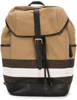 Burberry striped detail backpack - men - Cotton/Leather/Calf Leather - One Size