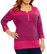 Allison Daley Plus 3/4 Sleeve Waffle Knit Henley Top