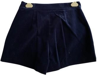 Diane von Furstenberg Blue Suede Shorts