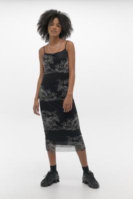Urban Outfitters Hannah Printed Midi Dress - black XS at