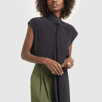 Tibi Sleeveless Tie Neck Top