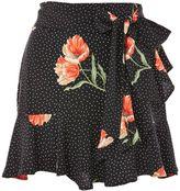 Topshop Spot Flower Ruffle Mini Skirt