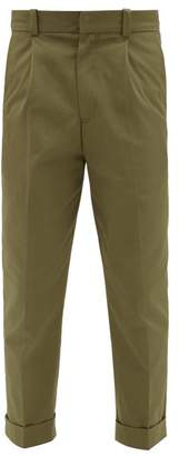 Acne Studios Pierre Cropped Cotton Trousers - Mens - Dark Green