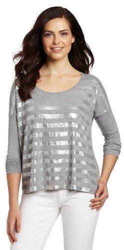Calvin Klein Jeans Women's Embellished Stripe Long Sleeve Knit Top