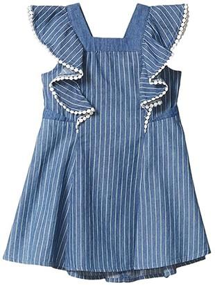 BCBG Girls Pinstriped Chambray Dress w/ Pom-Poms (Toddler/Little Kids) (Indigo Stripe) Girl's Dress
