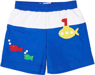 Florence Eiseman Boy's Two-Tone Submarine Fish Swim Trunks, Size 6-24 Months