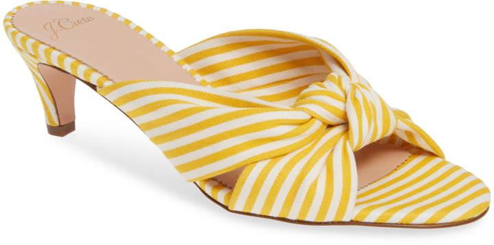 22e76702532 Stripe Knotted Kitten Heel Sandal