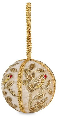 Sudha Pennathur Gold Patridge Hand Embroidered Champagne Bauble