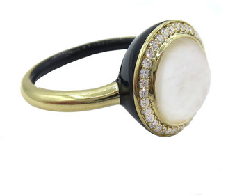 Ippolita Lollipop Carnevale Ring in 18K Gold with Mother-of-Pearl Doublet and Colored Ceramic, Size 7