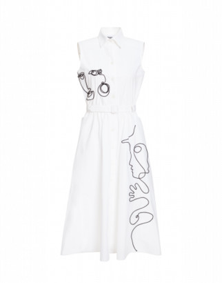 Moschino Dress In Technical Poplin With Cornely Embroidery Woman White Size 38 It - (4 Us)