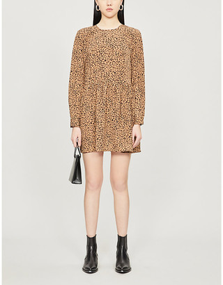 NEVER FULLY DRESSED Animal-print crepe mini dress
