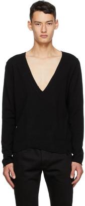 Saint Laurent Black Cashmere Destroyed V-Neck Sweater