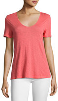 Splendid Short-Sleeve Crossover Cutout Tee, Coral