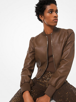 Michael Kors Plonge Leather Cropped Jacket