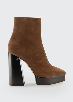 Jimmy Choo 125mm Bryn Suede Platform Booties