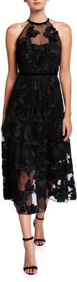 Elie Tahari Myranda Floral Applique Midi Halter Dress