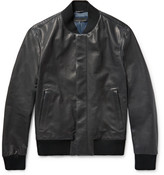 Bottega Veneta Slim-fit Intrecciato-trimmed Leather Bomber Jacket - Navy