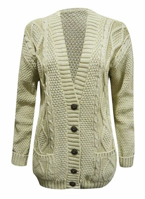21Fashion Ladies Fancy Chunky Cable Knitted Grandad Cardigan Womens Pockets V Neck Sweater Beige Small/Medium