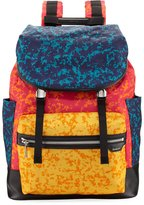Bally Alpina Large Notebook-Print Backpack, Blue/Red/Orange
