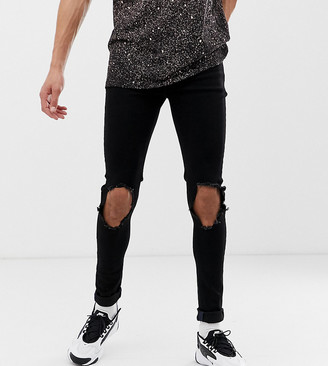 Asos Design DESIGN Tall spray on jeans in power stretch denim in black with open rips