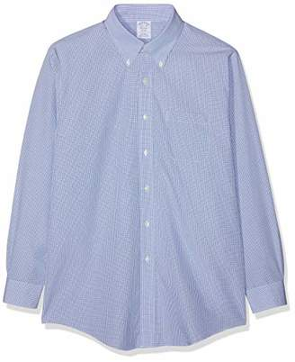 Brooks Brothers Men's Camicia Regent Manica Lunga Con Taschino Business Shirt, Open Blue 465, (Size: 15H 33)
