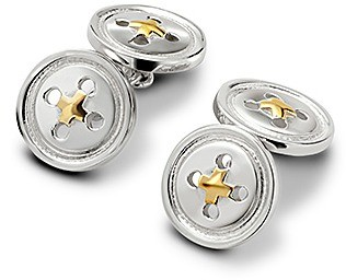 Aspinal of London Sterling Silver & Gold Plated Buttons Cufflinks