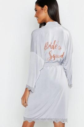 boohoo Glitter Brides Squad dressing gown