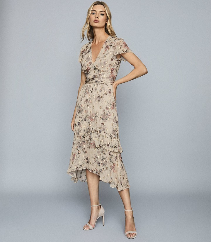 Reiss Audrey - LamA Detailed Chiffon Midi Dress in Nude