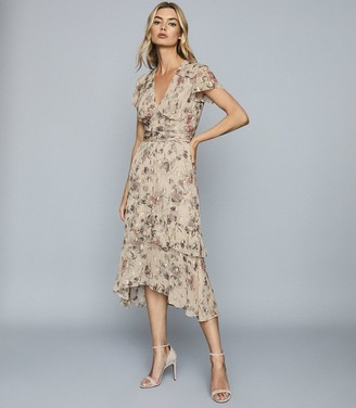 Reiss Audrey - LamA Detailed Chiffon Midi Dress in Nude