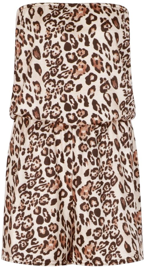 Thumbnail for your product : boohoo Tall Bandeau Leopard Print Playsuit