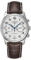 Longines L26294783 Master Collection Automatic Chronograph Date Alligator Leather Strap Watch, Brown/silver