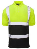 Forever 2 Tone Hi Viz Collar Safety Work High Visibility Work Wear Polo T-Shirt
