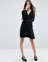 Asos Mini Wrap Tea Dress With Long Sleeve