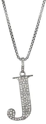 Nina Gilin Silvertone & Natural Champagne Diamond Initial Pendant Necklace