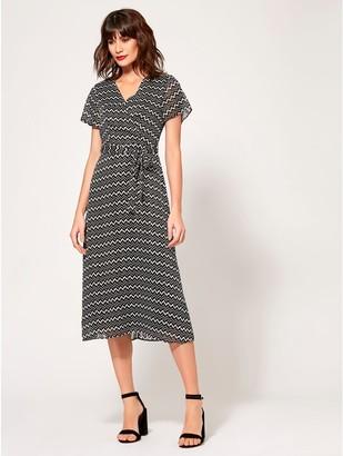 M&Co Geometric wrap midi dress