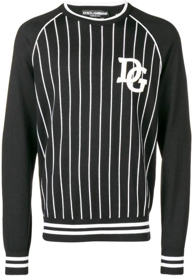 Dolce & Gabbana striped logo patch sweater