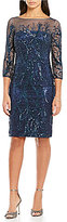 David Meister Sequin Embroidery Sheath Cocktail Dress