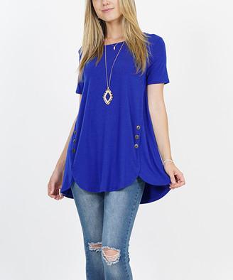 Lydiane Women's Tunics DENIMBLUE - Denim Blue Short-Sleeve Tulip-Hem Side-Button Tunic - Women