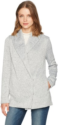 Jack by BB Dakota Women's Sol Heathered Fleece Snap Front French Terry Jacket Light Grey Large