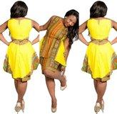Kinghard® Kinghard Traditional African Dresses Women Sexy O-Neck Sleeveless Party Dress (XL)