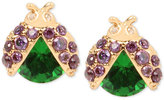 Betsey Johnson Gold-Tone Green Ladybug Stud Earrings