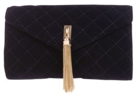 La Regale Quilted Velvet Envelope with Gold-Tone Center Tassel Clutch