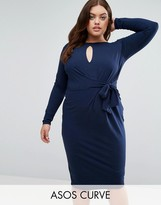 Asos Tie Side Long Sleeve Dress With Plunge Midi